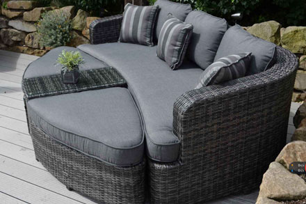 creative living furniture. 10C062A-W-D. Set Up As A Luxurious Lounger Or Chic Conversation Set, All-weather Wicker Stands To The Elements, Olefin Fabric That Is Durable And Easy Creative Living Furniture