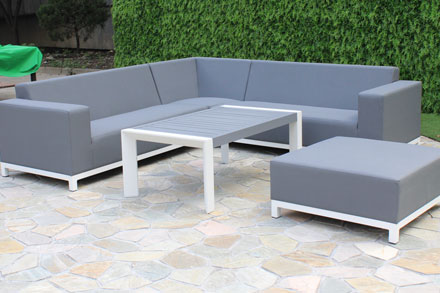 creative living furniture. 15C041A-LS-D Set 1set\u003d 1single Sofa+2double Sofa+1middle Corner Sofa+1corner Sofa+1ottoman+1coffee Table White Frame With Grey High Density Textilene, Creative Living Furniture