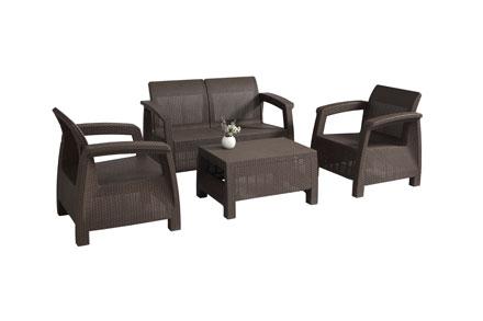 1pcs茶几+2pcs 单人沙发+1pcs 双人沙发休闲仿藤沙发,PP材质,适合户外严苛等场所。