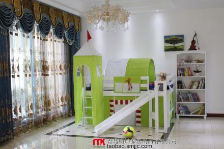 """进口新西兰松木大板直拼,白色水性漆,床下玩耍大空间。多种滑梯安装方式,1.6*2米的占地尺寸,被称为""""最小占地滑梯床""""。"""